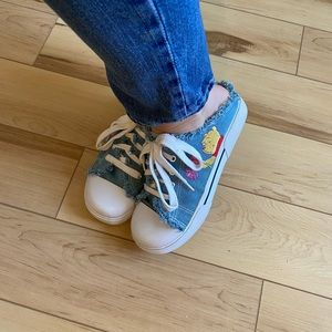 Vintage Shoes - Vintage Disney Pooh denim fringe mule | 9